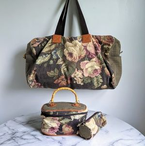 vintage 80's houndstooth and floral travel bag set